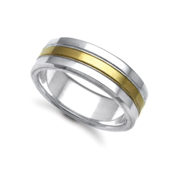 Jewelco London Or 2 couleurs 18k mariage bague 8mm