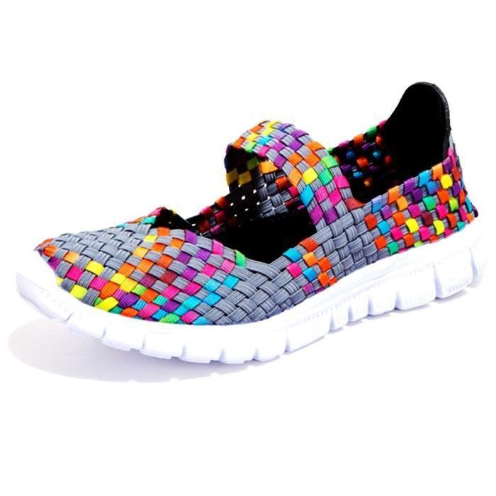 Minetom Femme Poids Léger Breathable Elastic Engrener Chaussures de Sport Plage Et D'Eau Tissées Shoes Trainers Slip On