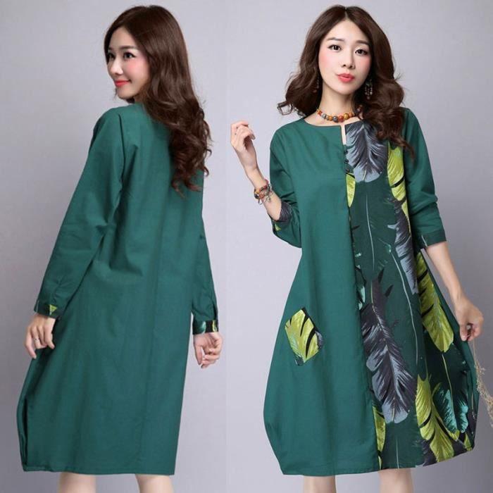 Mode féminine O-cou Robe en lin-6075