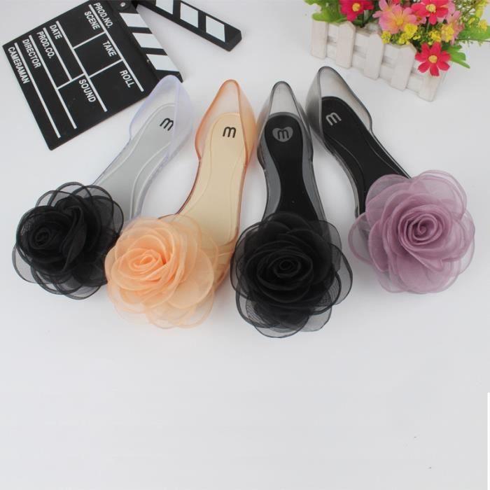 Doux bowknot Sandales d'été Chaussures Jelly Femme Cristal Appartements Transparent Casual plage dames Chaussures,noir,39