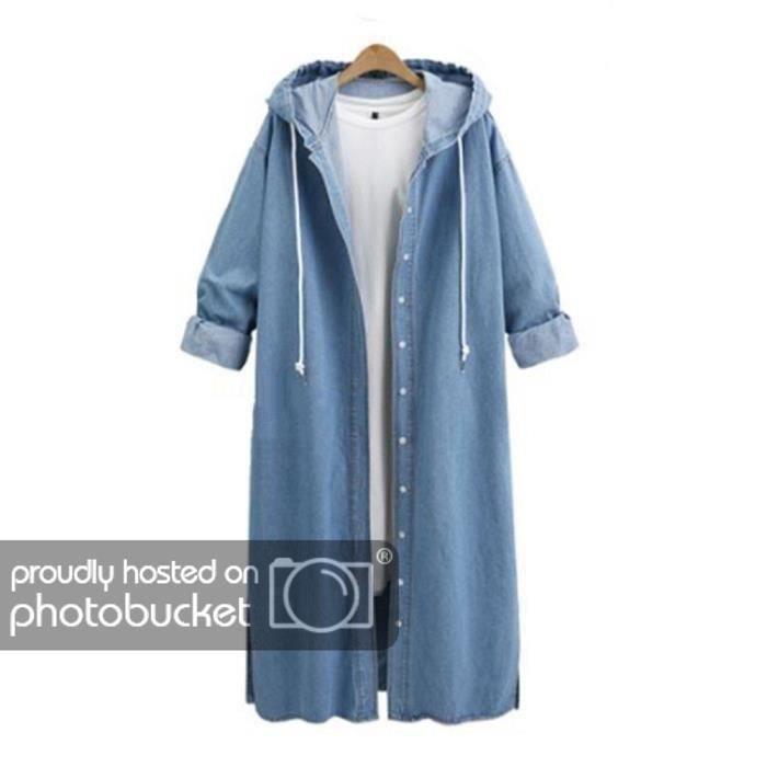 ba90d5461021 FUNMOON - Femmes Capuche Casual Manches Longues Veste En Jean Long Manteau  Jean Outwear Pardessus