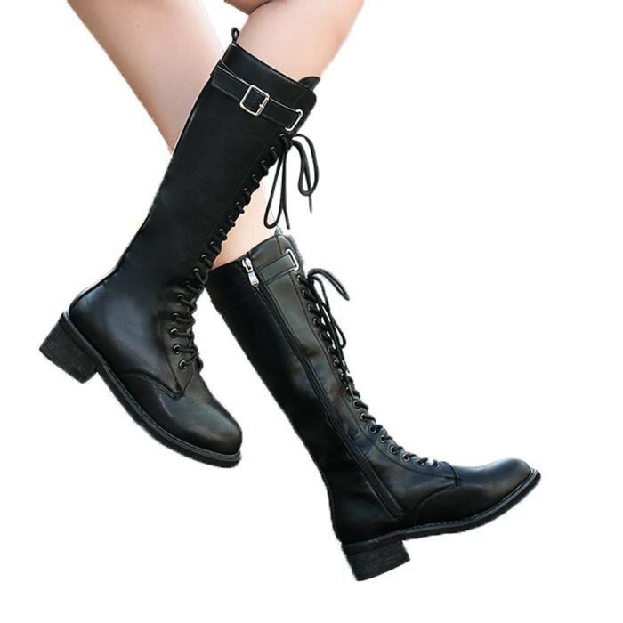 Cuissardes Talon Carré Chaussures Cuir Les Femmes Martin En Zipper Bottes pO0xSq
