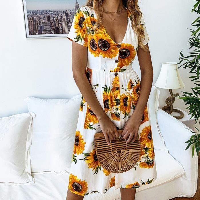 Bouton Tournesol Et Casual Mi longue Printemps blanc Mode Robe D'été Des La Femmes Imprimé PzZwp
