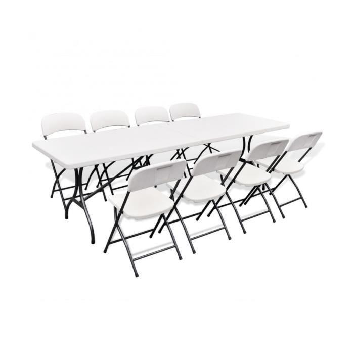 Superbe Ensemble table de jardin pliable avec 8 chaises PEHD ...
