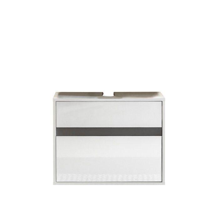 Sol Meuble Sous Vasque L 67 Cm Blanc Mat Et Blanc Laqué Brillant