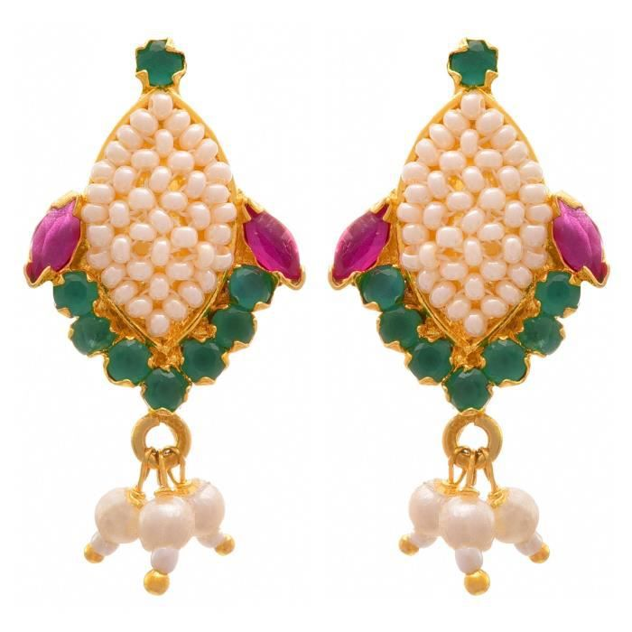 Womens Jfl - Traditional Ethnic One Gram Gold Plated Pink Green Cz American Diamonds Real Pearls D AV1GH