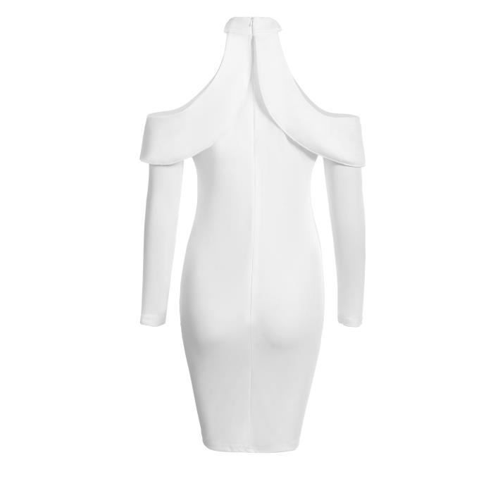 Robe Bodycon Femme Manches Longues Froid Épaule Ruffles