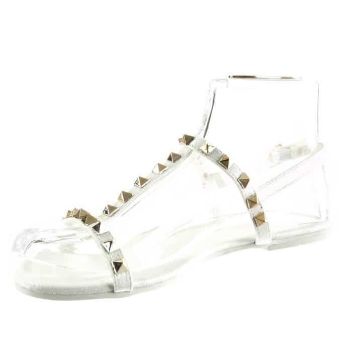 Angkorly - Chaussure Mode Sandale salomés femme clouté boucle doré Talon plat 1 CM - Blanc - 2017-02 T 41 D3PFXD