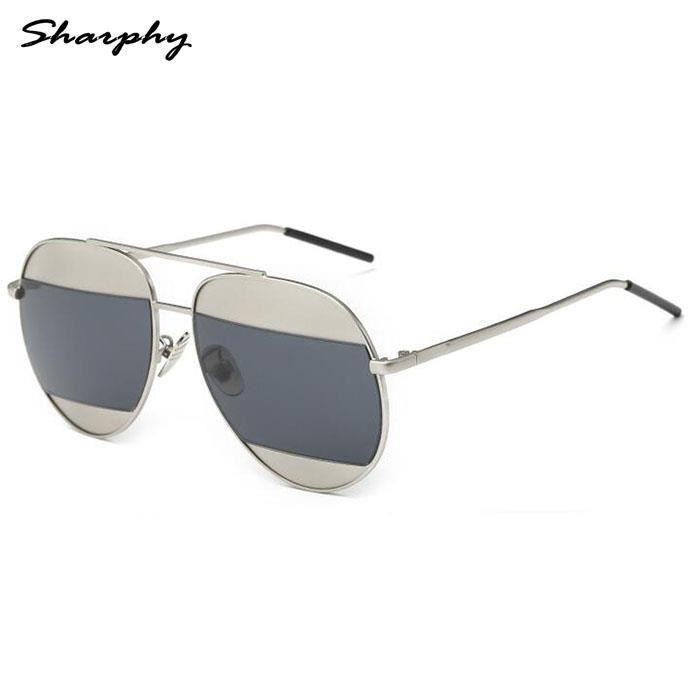 soleilHomme Verre Femme SHARPHY® Argent Frame de lunette Grandes lunettes rondes de Lunettes Gris f6WwqpzA