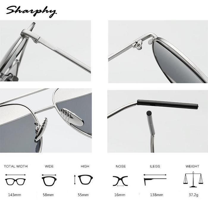 SHARPHY® Verre Grandes rondes de Argent Gris Frame Femme soleilHomme lunette lunettes Lunettes de 4zqgwxr4