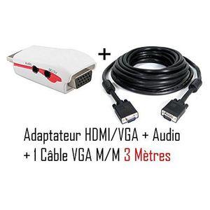 ADAPTATEUR AUDIO-VIDÉO  CABLING® Adaptateur HDMI - VGA + audio pour PS3...