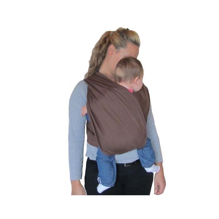 Porte bébé écharpe de portage sans noeud marron réglable - Achat ... 88468a22acf