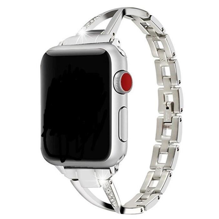Femmes Montre Bande Pour Apple Watch Bandes 38Mm Réglable Bracelet En Acier  Inoxydable Pour Iwatch Série 3 2 1 Bracelet Argent