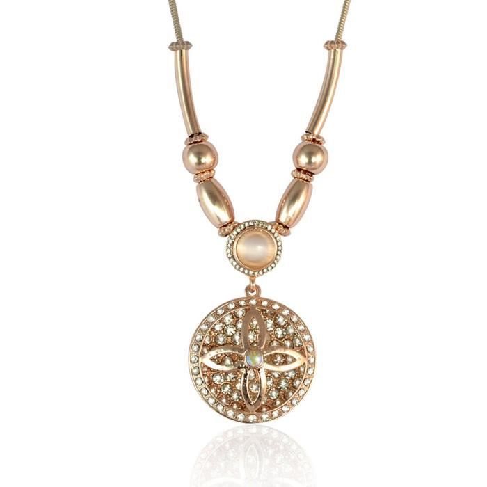 Womens Floral Round Pendant Necklace For - Gold Z86UW