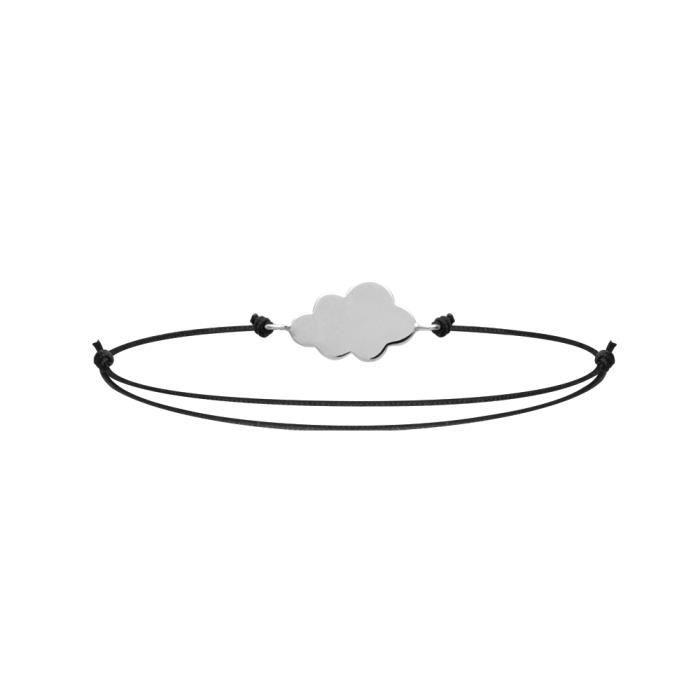 Bracelet Cordon Noir Ajustable - Nuage 15x10mm Argent 925 Rhodie