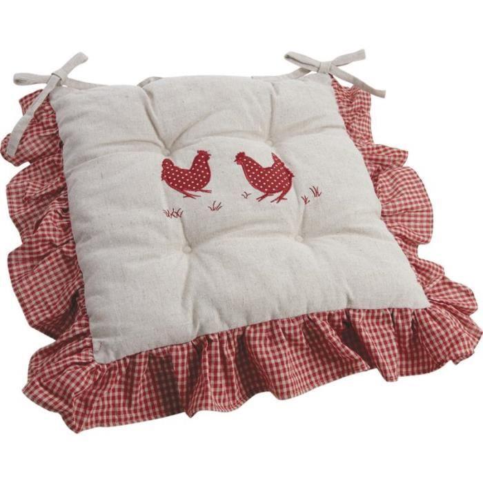 coussin de chaise motif poule achat vente coussin de chaise cdiscount. Black Bedroom Furniture Sets. Home Design Ideas