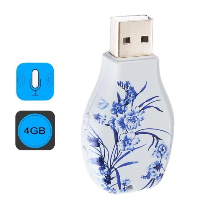(#63) Flowers Blue And White Porcelain Pattern Portable Audio Voice Recorder Usb Drive, 4gb, Support Music Playback