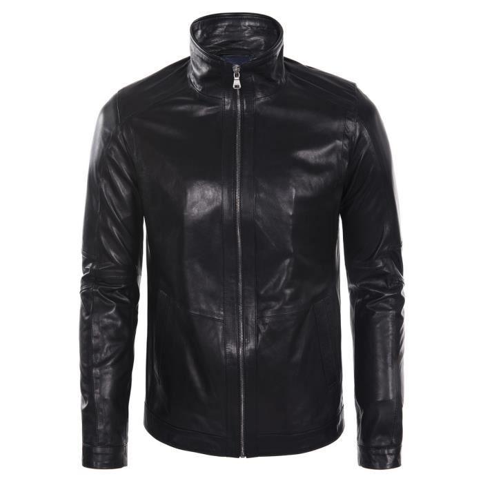 e5d1f1667e1 Blouson Hugo Boss en cuir noir Noir - Achat   Vente blouson - Cdiscount