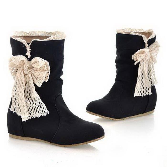 New Women's Casual Fashion Bobbin Lace Half Boots Flattie Single Boots Shoes 3Colors FCKTvUP