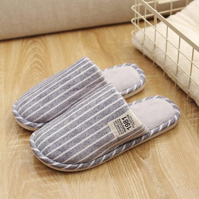 Sidneyki®Pantoufles d'intérieur à rayures d'hiver de la maison des hommes chaussures chaudes molles anti-dérapantes Gris clair arWJU