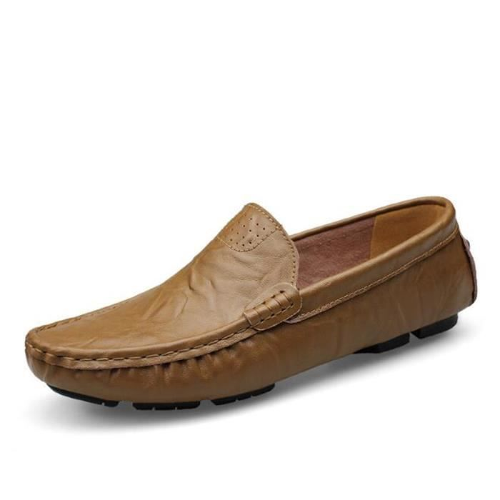 Mocassin Hommes Mode Chaussures Grande Taille Chaussures XFP-XZ73Marron46