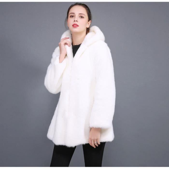 low price genuine shoes new arrive Manteau épais en fausse fourrure à capuche pour femmes en laine épaisse,  plus la taille
