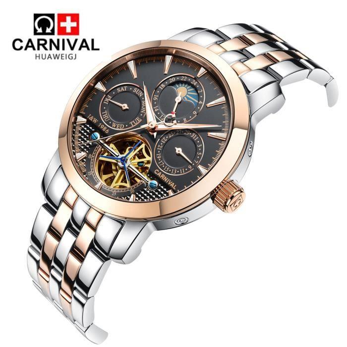 brillance des couleurs le plus fiable à bas prix Suisse montres hommes marque de luxe Montres Carnaval Quartz ...