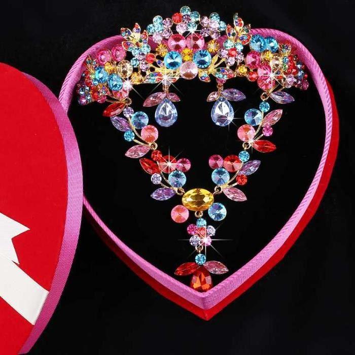 jeune mariée Mariage Ensemble de bijoux - Collier boucles doreilles coiffure Couronne 124