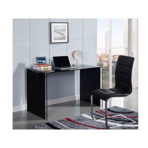 bureau verre noir achat vente bureau verre noir pas cher cdiscount. Black Bedroom Furniture Sets. Home Design Ideas