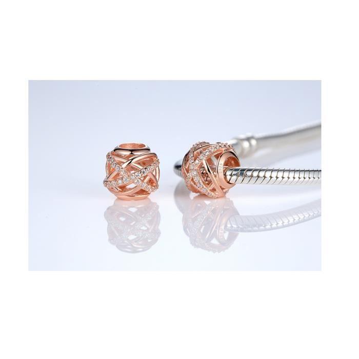 Charms Bead en Argent 925 plaqué or rose et Cristal Blanc - Blue Pearls