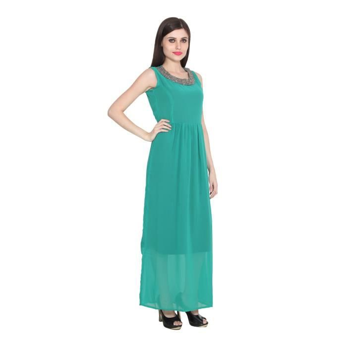 Femmes Vert Georgette manches Robes PourRKUQH Taille-36