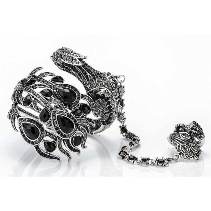 Bracelet en cristal Grand paon de la femme esclave extensible Bague E1B5A