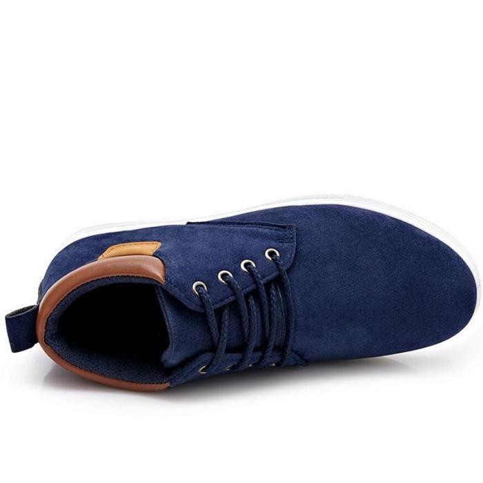 Hommes Hommes Léger Véritable Chaussures Daim Classique x243bleu44 Patchwork Basket Chaussures Top Cuir C High Mode En Casual aqtnxRw