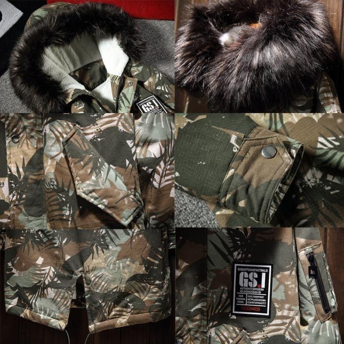 De Homme Capuche Camouflage À Fourrure Nouveau D'hiver Parka Marque Long Col Style Décontractée Mode Moyen d5xwXqt