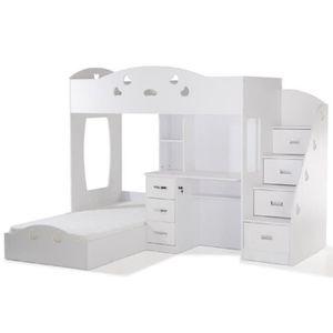 COMBI Lit combiné avec deux couchages superposés + un bureau blanc + des étag?res de rangement - l 90 x L 190 cm