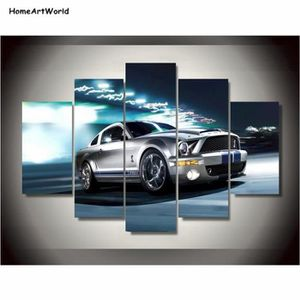 864f44d16c7 TABLEAU - TOILE Toiles Impressions Ford Mustang Gris Shelby Peintu