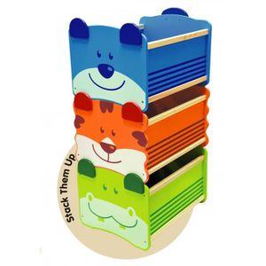 COFFRE À JOUETS Coffre à jouets en bois ours bleu