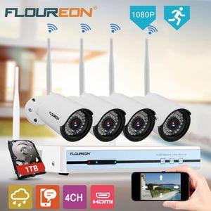 CAMÉRA DE SURVEILLANCE Floureon 1 x DVR 4CH 1080P HDMI Sans Fil WLAN CCTV
