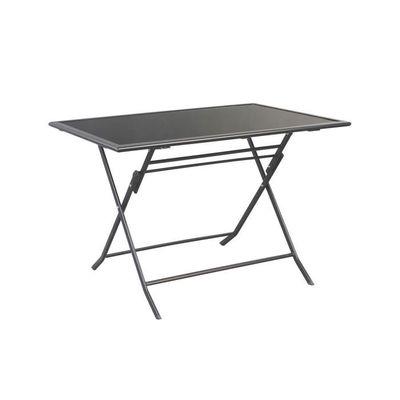 Table Bistrot Pliable Métal Rectangulaire avec Plaque de Verre 140 X ...
