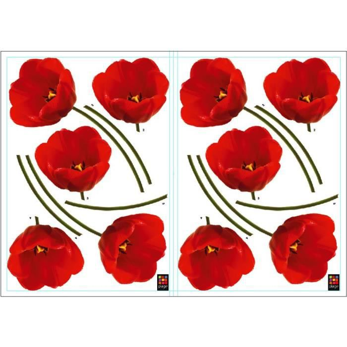 PLAGE Stickers adhésif mural Taille S - Tulipes rouges2 planches 29,7 x 21 cm, divers motifs