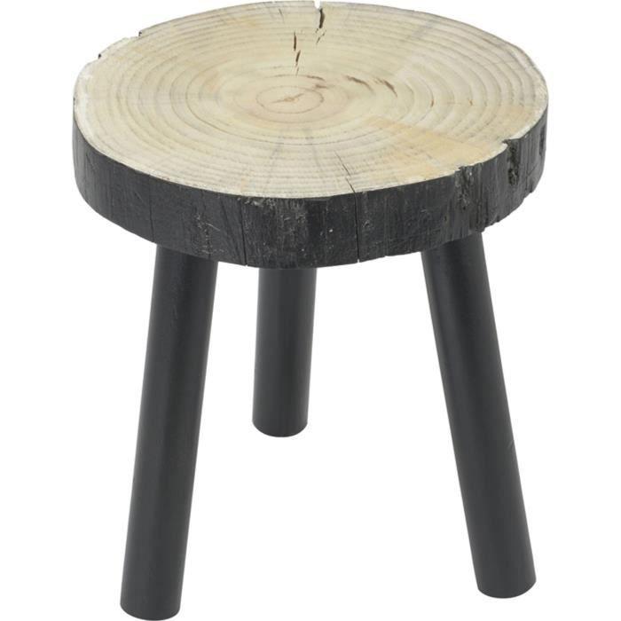 tabouret bas bois noir tronc achat vente tabouret cdiscount. Black Bedroom Furniture Sets. Home Design Ideas