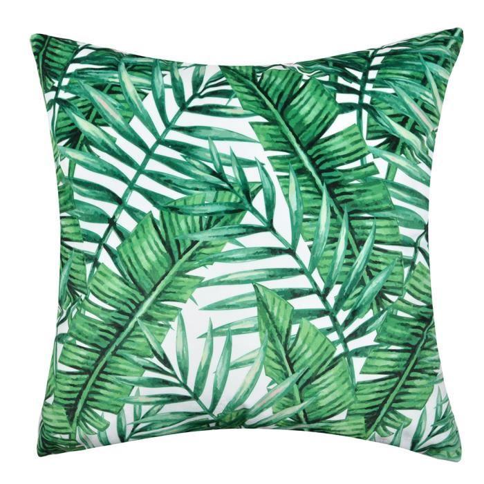 Feuilles Imprimées Housse de Coussin Jungle Tropicale en Velours