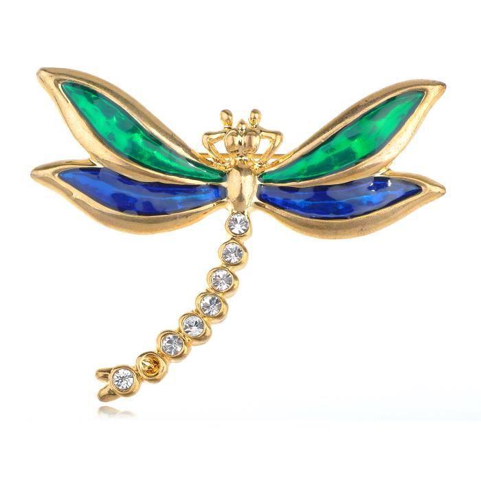 Cobalt & émail émeraude brillant libellule cristal strass Lovely broches Broche