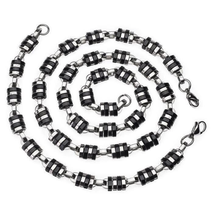 1d50c950be5 Acier inoxydable canon collier et bracelet hommes ensemble - Achat ...