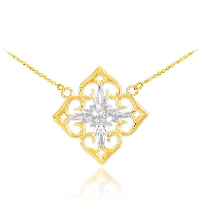 Pendentif 14 ct Diamants en or 585/1000 Deux de tonalité Coupe-Fleur
