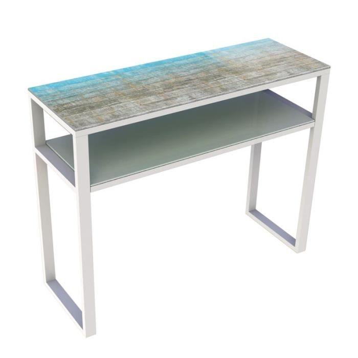 console verre et m tal blanc mat orae l 100 x l 35 x h. Black Bedroom Furniture Sets. Home Design Ideas