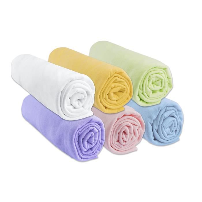 drap housse pour matelas 70x140 Lot de 6 Draps housse Jersey coton 70x140   mixte   Achat / Vente  drap housse pour matelas 70x140