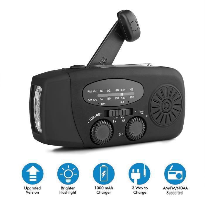 Solaire Manivelle Puissance Fm Radio Dynamo 1 W Super Lumineux Lampe De Poche 2000 Mah Chargeur Téléphone D'urgence