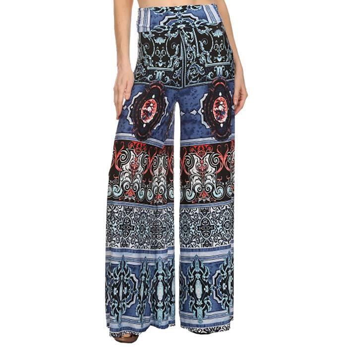 Pantalon large patte d éléphant motif graphique... Bleu - Achat ... 51247193f210