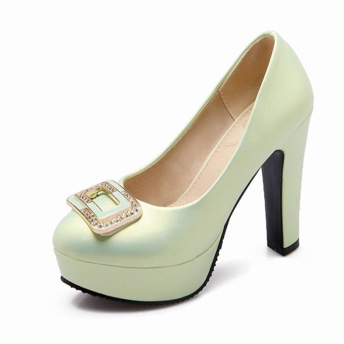 Femme Chaussures Nouvelle Bride Perle Strass Mode Plateforme Epais vernis à franges Lacets